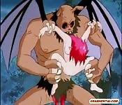 Rousse hentai baisée par un monstre chauve-souris